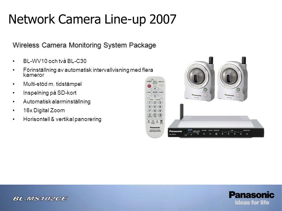 Network Camera Line-up 2007 Wireless Camera Monitoring System Package • BL-WV10 och två BL-C30 • Förinställning av automatisk intervallvisning med flera kameror • Multi-stöd m.
