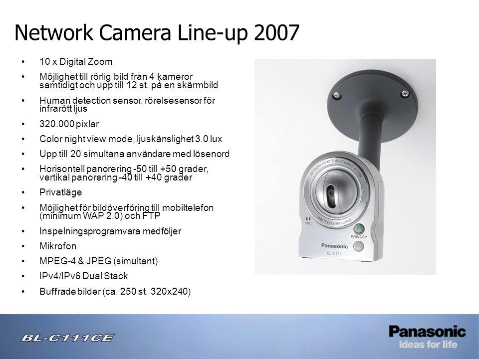 Network Camera Line-up 2007 • 10 x Digital Zoom • Möjlighet till rörlig bild från 4 kameror samtidigt och upp till 12 st.
