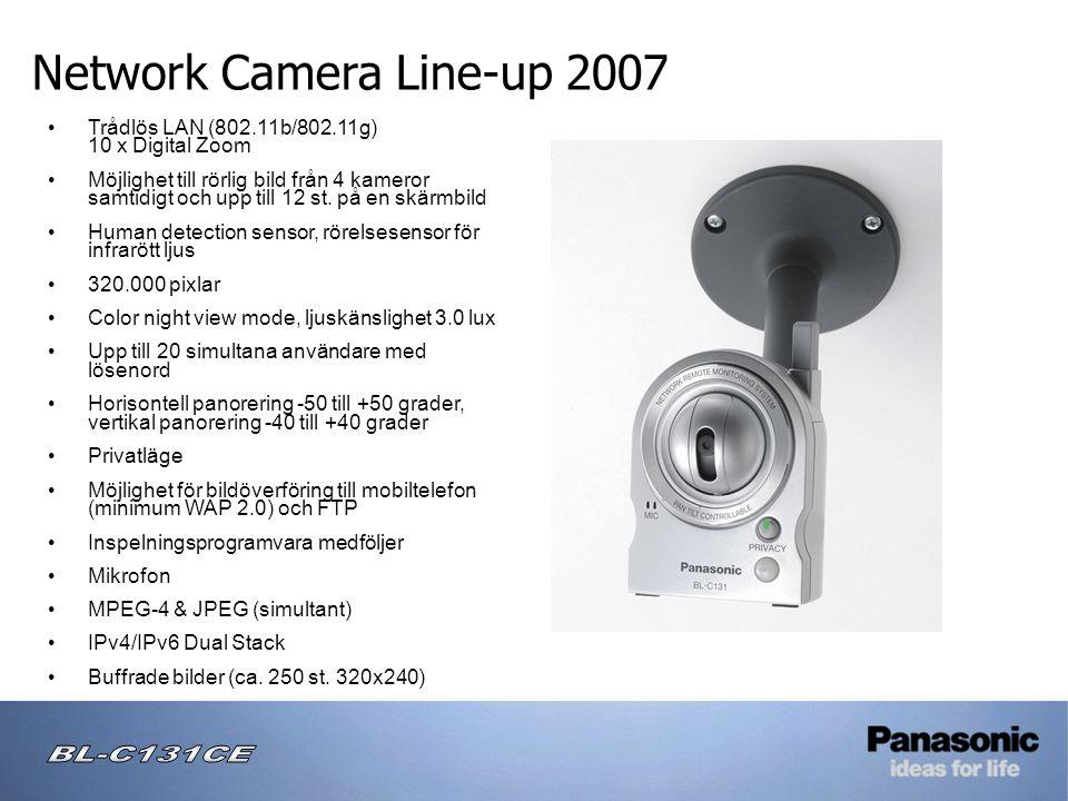 Network Camera Line-up 2007 • Trådlös LAN (802.11b/802.11g) 10 x Digital Zoom • Möjlighet till rörlig bild från 4 kameror samtidigt och upp till 12 st.