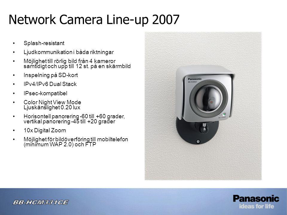 Network Camera Line-up 2007 • Splash-resistant • Ljudkommunikation i båda riktningar • Möjlighet till rörlig bild från 4 kameror samtidigt och upp till 12 st.