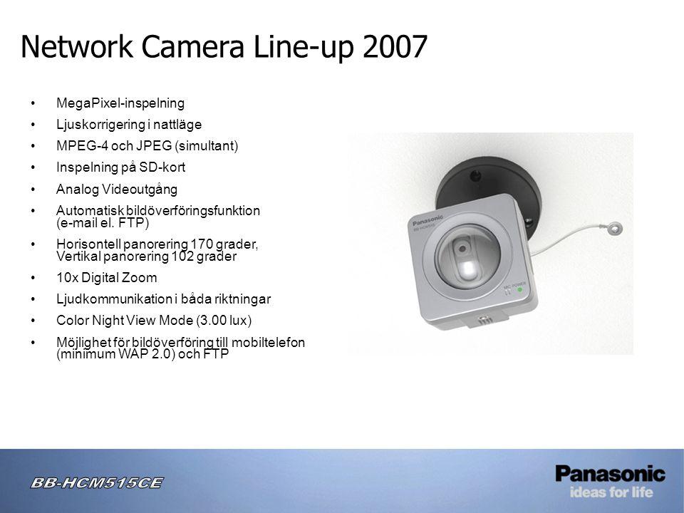 Network Camera Line-up 2007 • MegaPixel-inspelning • Ljuskorrigering i nattläge • MPEG-4 och JPEG (simultant) • Inspelning på SD-kort • Analog Videoutgång • Automatisk bildöverföringsfunktion (e-mail el.