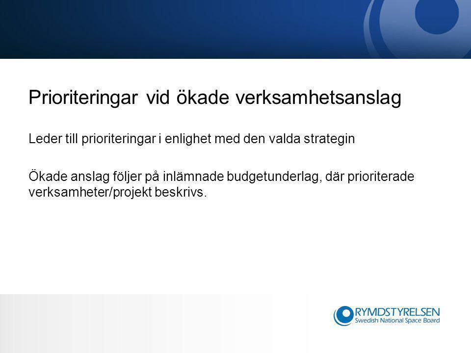 Prioriteringar vid ökade verksamhetsanslag Leder till prioriteringar i enlighet med den valda strategin Ökade anslag följer på inlämnade budgetunderlag, där prioriterade verksamheter/projekt beskrivs.