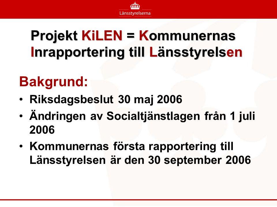 Projekt KiLEN = Kommunernas Inrapportering till Länsstyrelsen Bakgrund: •Riksdagsbeslut 30 maj 2006 •Ändringen av Socialtjänstlagen från 1 juli 2006 •Kommunernas första rapportering till Länsstyrelsen är den 30 september 2006