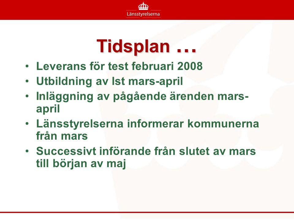 Tidsplan … •Leverans för test februari 2008 •Utbildning av lst mars-april •Inläggning av pågående ärenden mars- april •Länsstyrelserna informerar kommunerna från mars •Successivt införande från slutet av mars till början av maj