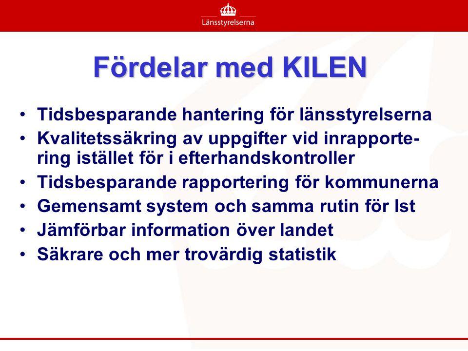 Fördelar med KILEN •Tidsbesparande hantering för länsstyrelserna •Kvalitetssäkring av uppgifter vid inrapporte- ring istället för i efterhandskontroll