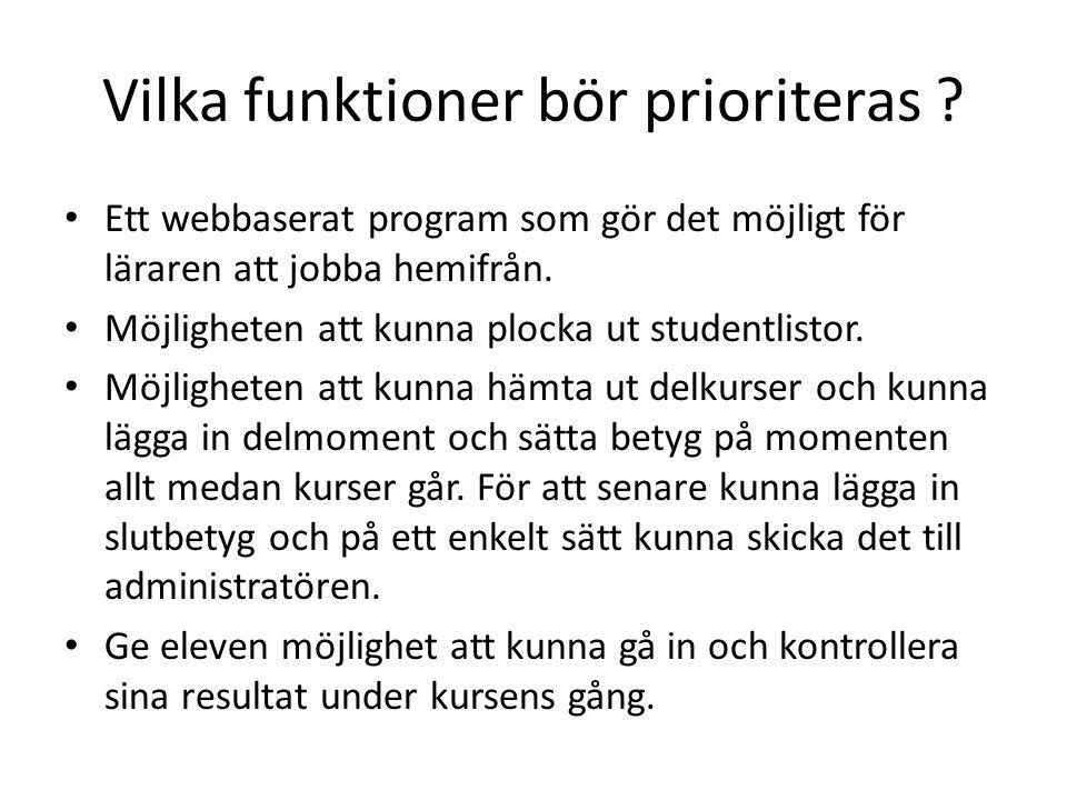 Vilka funktioner bör prioriteras ? • Ett webbaserat program som gör det möjligt för läraren att jobba hemifrån. • Möjligheten att kunna plocka ut stud