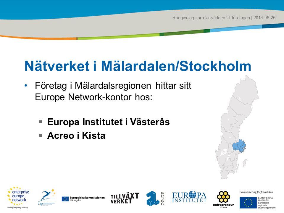 Rådgivning som tar världen till företagen | 2014-06-26 Nätverket i Mälardalen/Stockholm •Företag i Mälardalsregionen hittar sitt Europe Network-kontor hos:  Europa Institutet i Västerås  Acreo i Kista