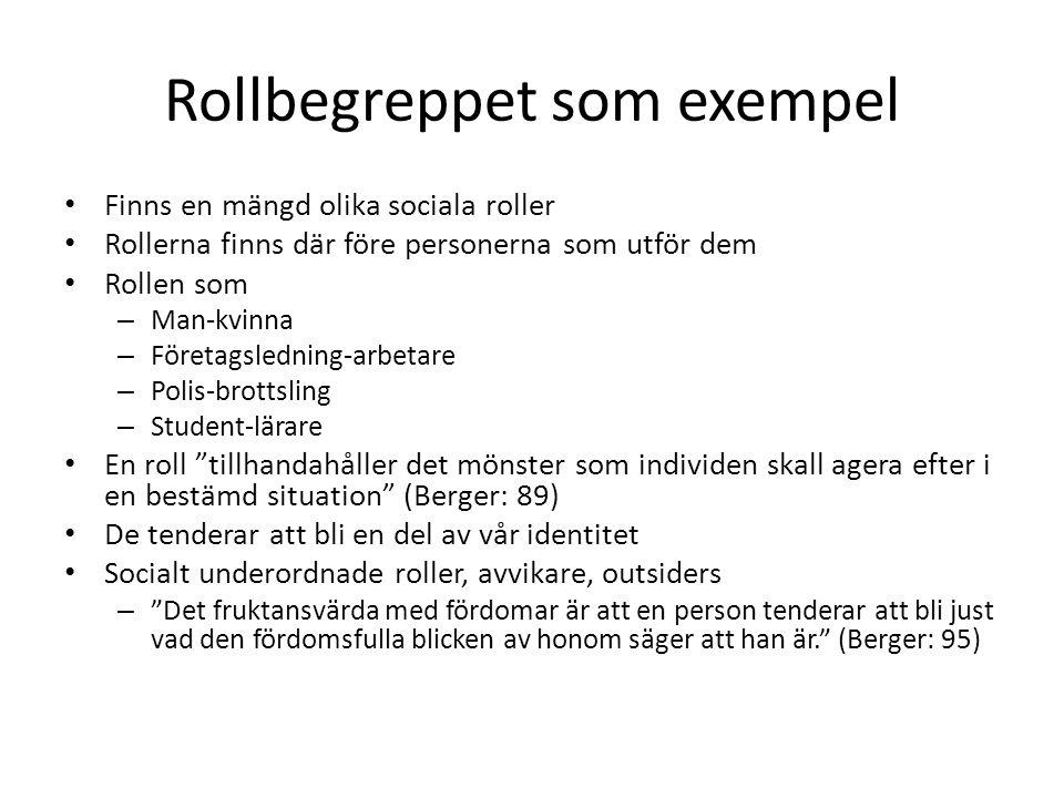 Rollbegreppet som exempel • Finns en mängd olika sociala roller • Rollerna finns där före personerna som utför dem • Rollen som – Man-kvinna – Företag