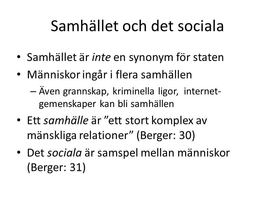 Samhället och det sociala • Samhället är inte en synonym för staten • Människor ingår i flera samhällen – Även grannskap, kriminella ligor, internet-