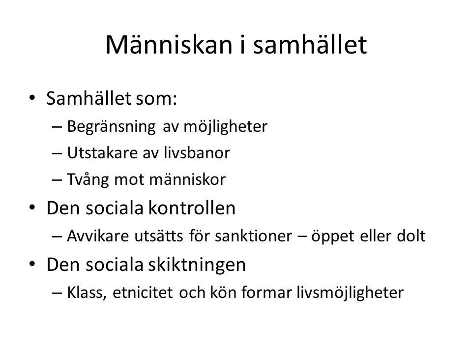Människan i samhället • Samhället som: – Begränsning av möjligheter – Utstakare av livsbanor – Tvång mot människor • Den sociala kontrollen – Avvikare