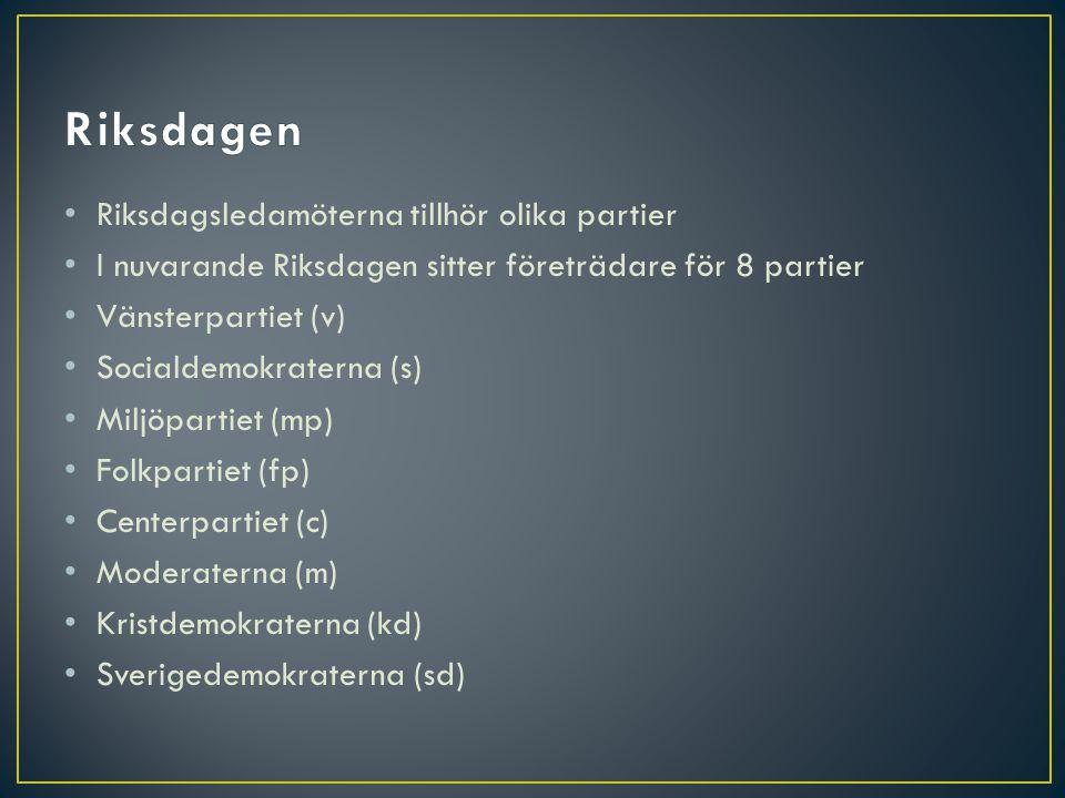 • Riksdagsledamöterna tillhör olika partier • I nuvarande Riksdagen sitter företrädare för 8 partier • Vänsterpartiet (v) • Socialdemokraterna (s) • M