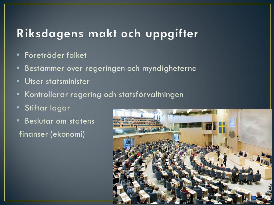• Ca 20 statsråd/ministrar • Ansvarar för olika arbetsområden:
