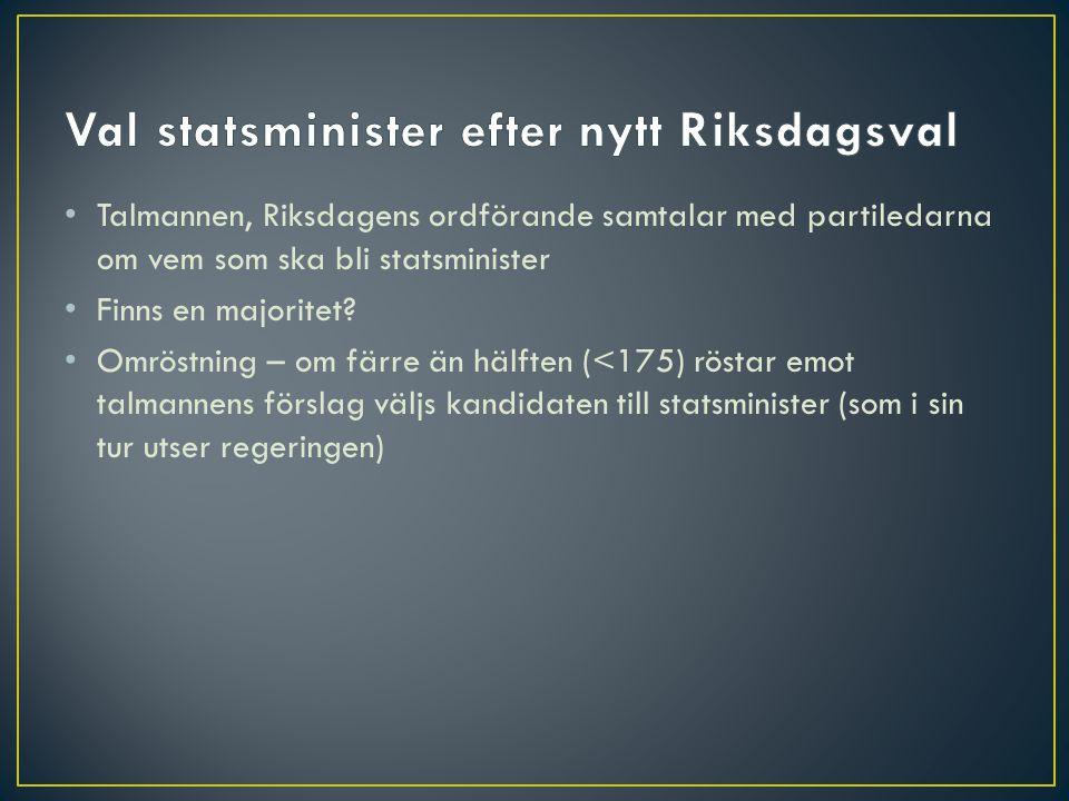 • Talmannen, Riksdagens ordförande samtalar med partiledarna om vem som ska bli statsminister • Finns en majoritet? • Omröstning – om färre än hälften
