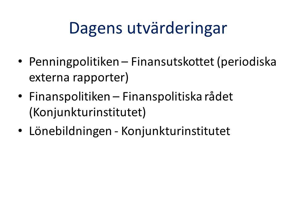 Dagens utvärderingar • Penningpolitiken – Finansutskottet (periodiska externa rapporter) • Finanspolitiken – Finanspolitiska rådet (Konjunkturinstitutet) • Lönebildningen - Konjunkturinstitutet