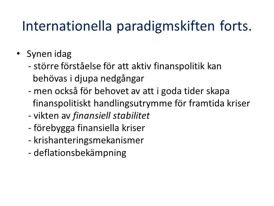 Paradigmskiften i Sverige • Liknande utveckling som den i omvärlden men lite senarelagd • Keynesiansk syn dominerar fram till cirka 1990 - devalveringscykler och inflation • Runt 1990 övergång till normpolitiken - fast växelkurs som övergripande norm - sysselsättningen är arbetsmarknadsparternas ansvar - normpolitiken införs under den enda period då en valutadepreciering verkligen var motiverad