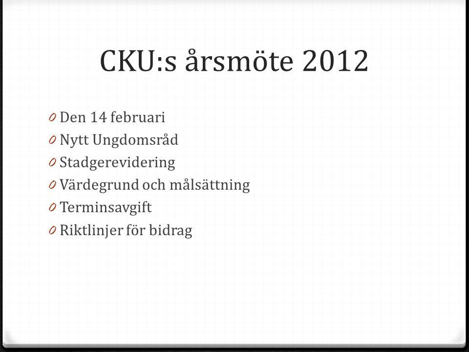 CKU:s årsmöte 2012 0 Den 14 februari 0 Nytt Ungdomsråd 0 Stadgerevidering 0 Värdegrund och målsättning 0 Terminsavgift 0 Riktlinjer för bidrag