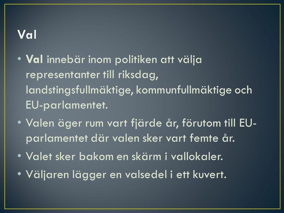 • Val innebär inom politiken att välja representanter till riksdag, landstingsfullmäktige, kommunfullmäktige och EU-parlamentet. • Valen äger rum vart