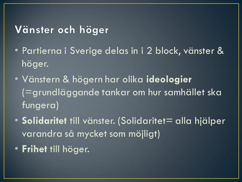 • Partierna i Sverige delas in i 2 block, vänster & höger. • Vänstern & högern har olika ideologier (=grundläggande tankar om hur samhället ska funger