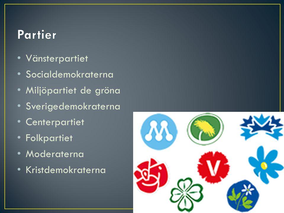 • Vänsterpartiet • Socialdemokraterna • Miljöpartiet de gröna • Sverigedemokraterna • Centerpartiet • Folkpartiet • Moderaterna • Kristdemokraterna