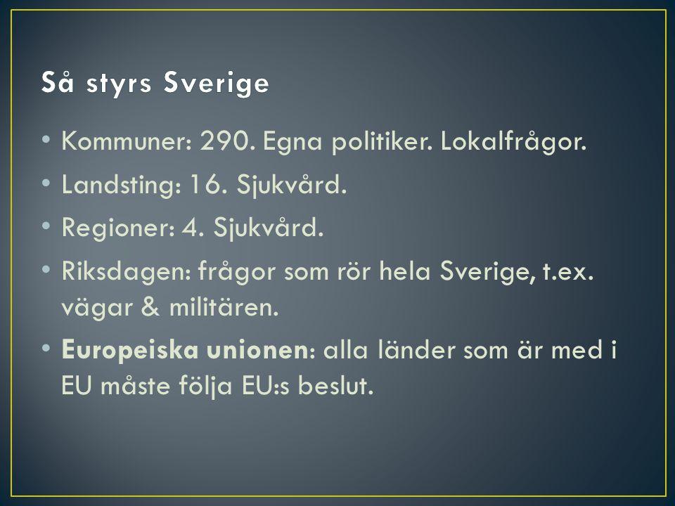 • Kommuner: 290. Egna politiker. Lokalfrågor. • Landsting: 16. Sjukvård. • Regioner: 4. Sjukvård. • Riksdagen: frågor som rör hela Sverige, t.ex. väga