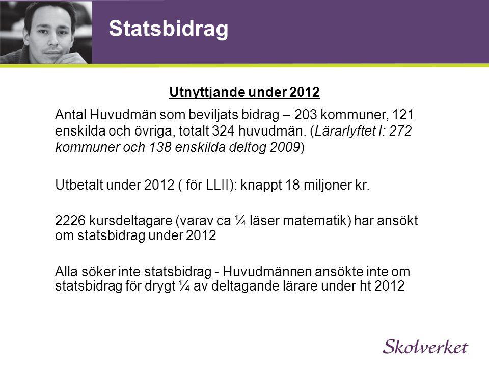 Statsbidrag Utnyttjande under 2012 Antal Huvudmän som beviljats bidrag – 203 kommuner, 121 enskilda och övriga, totalt 324 huvudmän. (Lärarlyftet I: 2