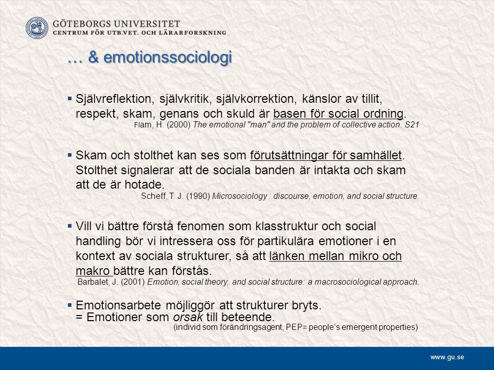 www.gu.se … & emotionssociologi  Självreflektion, självkritik, självkorrektion, känslor av tillit, respekt, skam, genans och skuld är basen för socia