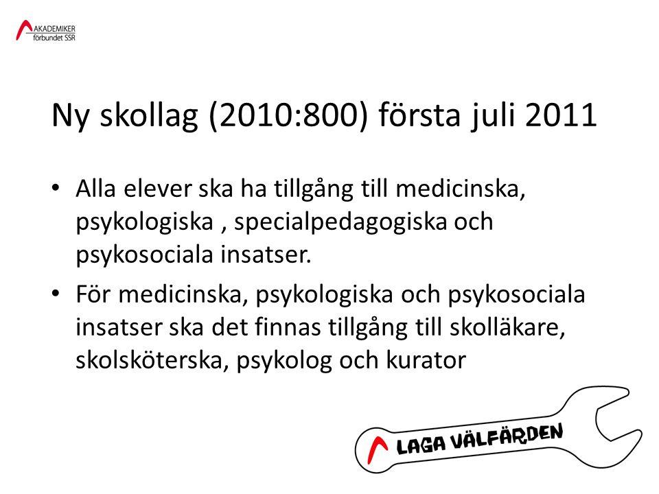 Ny skollag (2010:800) första juli 2011 • Alla elever ska ha tillgång till medicinska, psykologiska, specialpedagogiska och psykosociala insatser. • Fö