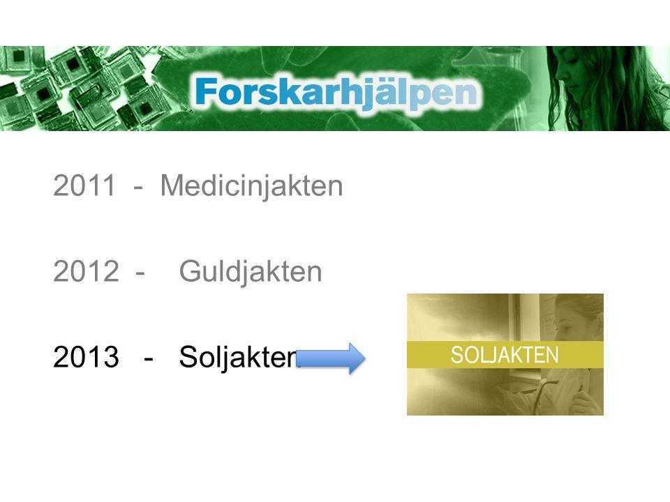 Delmoment Soljakten Steg 1: Gå ut och leta efter naturliga färgämnen Steg 2: Bygga solceller och föra protokoll Steg 3: Testa effekten av färgämnet i solcellen Steg 4: Presentera era resultat genom att göra en poster Steg 5: Välj ut den poster som ska representera skolan i postertävlingen Steg 6: Postertävling (en poster från varje skola) Steg 7: Final på Nobelmuseet, 9 december (två elever från varje klass)