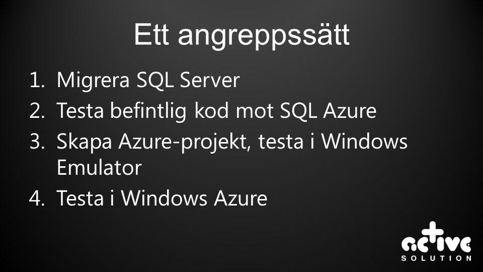 Ett angreppssätt 1.Migrera SQL Server 2.Testa befintlig kod mot SQL Azure 3.Skapa Azure-projekt, testa i Windows Emulator 4.Testa i Windows Azure