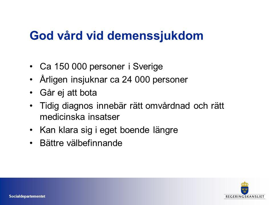 God vård vid demenssjukdom •Ca 150 000 personer i Sverige •Årligen insjuknar ca 24 000 personer •Går ej att bota •Tidig diagnos innebär rätt omvårdnad