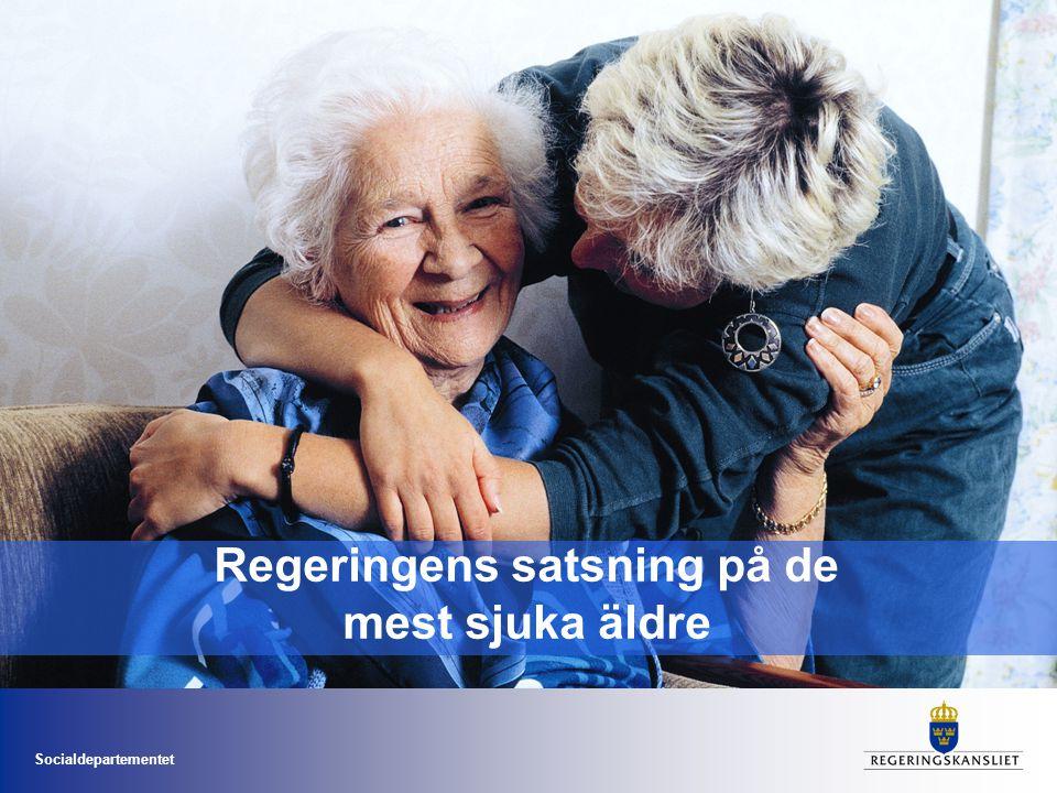 Socialdepartementet Äldresamordning •Förbättra vården och omsorgen för de mest sjuka äldre •Stärka incitament och förutsättningar för landsting och kommuner •Resultatbaserade mål •Integrerad del av ordinarie verksamhet •Satsning drygt fyra miljarder 2011-2014