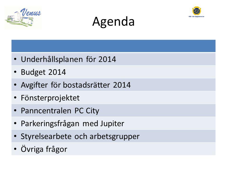 Agenda • Underhållsplanen för 2014 • Budget 2014 • Avgifter för bostadsrätter 2014 • Fönsterprojektet • Panncentralen PC City • Parkeringsfrågan med Jupiter • Styrelsearbete och arbetsgrupper • Övriga frågor