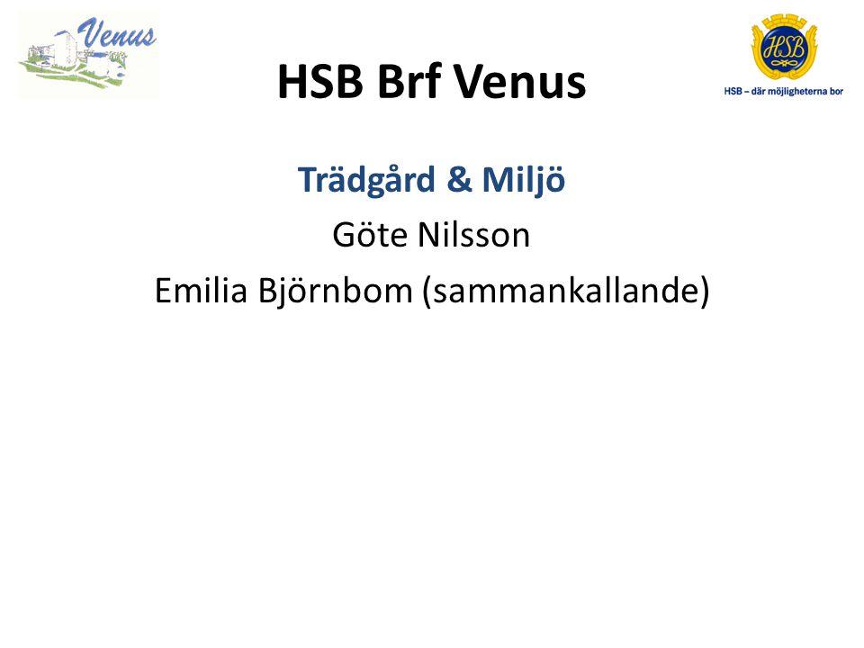 HSB Brf Venus Trädgård & Miljö Göte Nilsson Emilia Björnbom (sammankallande)