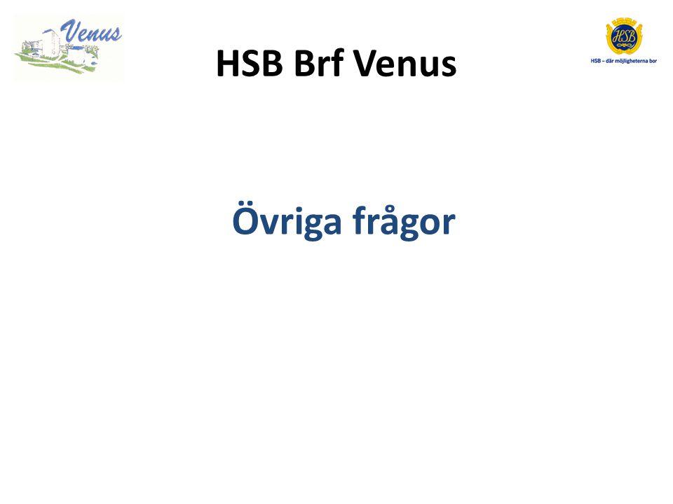 HSB Brf Venus Övriga frågor