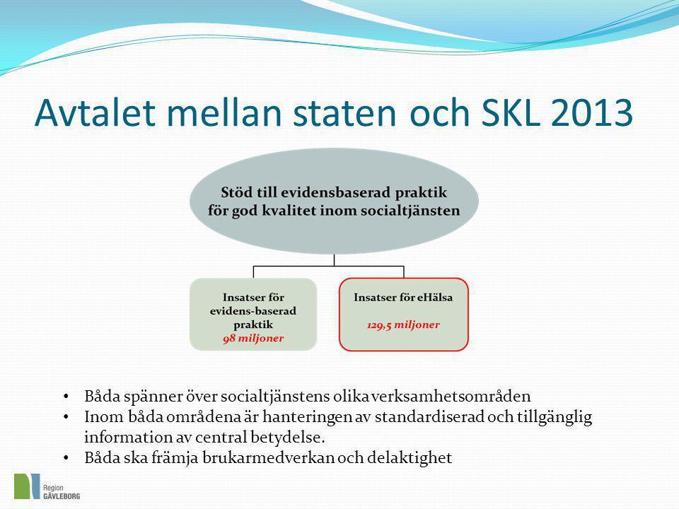 Avtalet mellan staten och SKL 2013 • Båda spänner över socialtjänstens olika verksamhetsområden • Inom båda områdena är hanteringen av standardiserad och tillgänglig information av central betydelse.