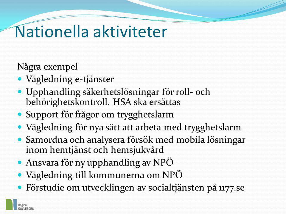 Nationella aktiviteter Några exempel  Vägledning e-tjänster  Upphandling säkerhetslösningar för roll- och behörighetskontroll. HSA ska ersättas  Su
