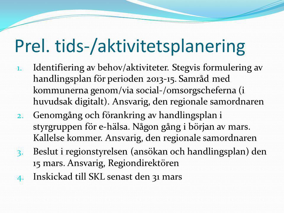 Prel. tids-/aktivitetsplanering 1. Identifiering av behov/aktiviteter. Stegvis formulering av handlingsplan för perioden 2013-15. Samråd med kommunern