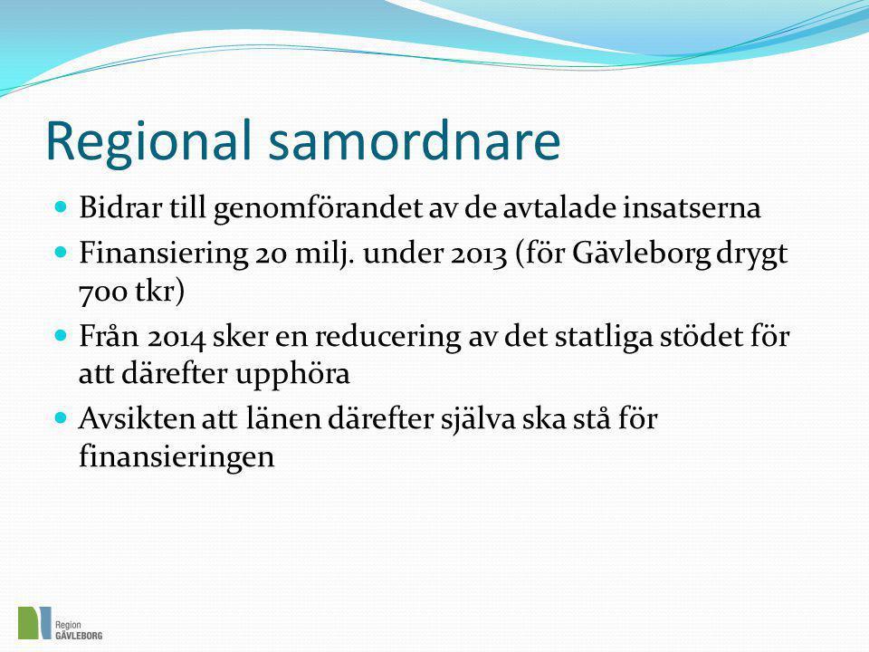 Regional samordnare  Bidrar till genomförandet av de avtalade insatserna  Finansiering 20 milj. under 2013 (för Gävleborg drygt 700 tkr)  Från 2014