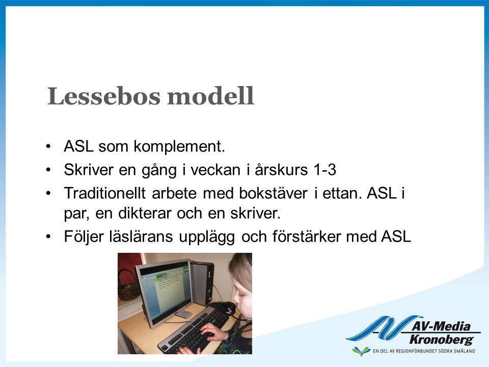 Lessebos modell •ASL som komplement. •Skriver en gång i veckan i årskurs 1-3 •Traditionellt arbete med bokstäver i ettan. ASL i par, en dikterar och e