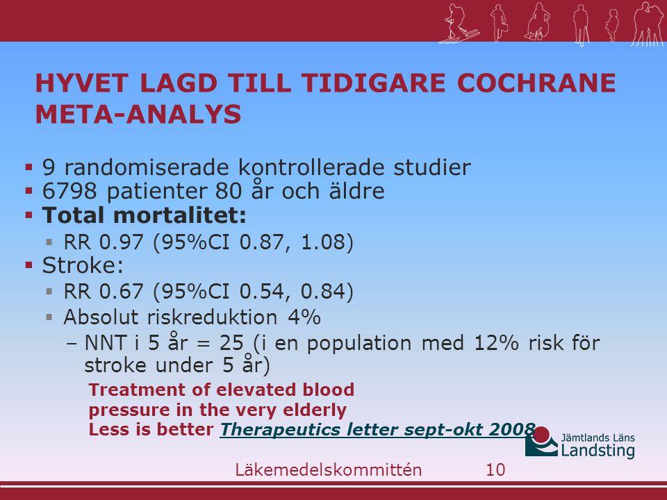 HYVET LAGD TILL TIDIGARE COCHRANE META-ANALYS  9 randomiserade kontrollerade studier  6798 patienter 80 år och äldre  Total mortalitet:  RR 0.97 (