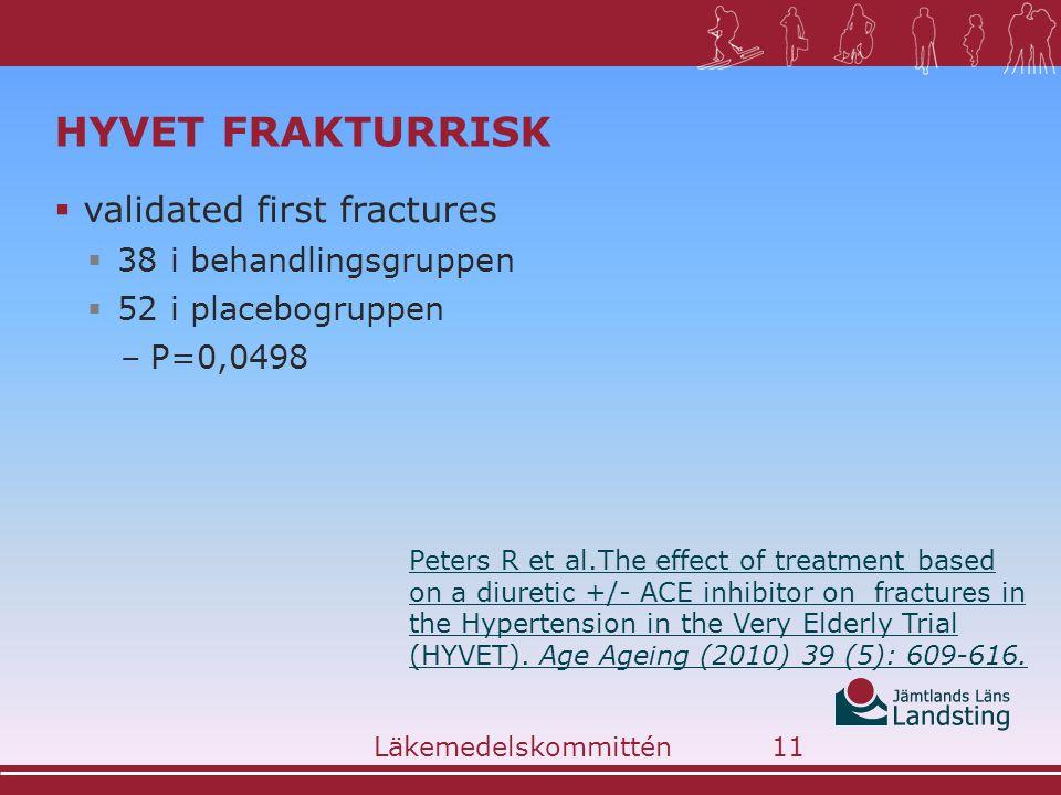 HYVET FRAKTURRISK  validated first fractures  38 i behandlingsgruppen  52 i placebogruppen –P=0,0498 Läkemedelskommittén11 Peters R et al.The effect of treatment based on a diuretic +/- ACE inhibitor on fractures in the Hypertension in the Very Elderly Trial (HYVET).