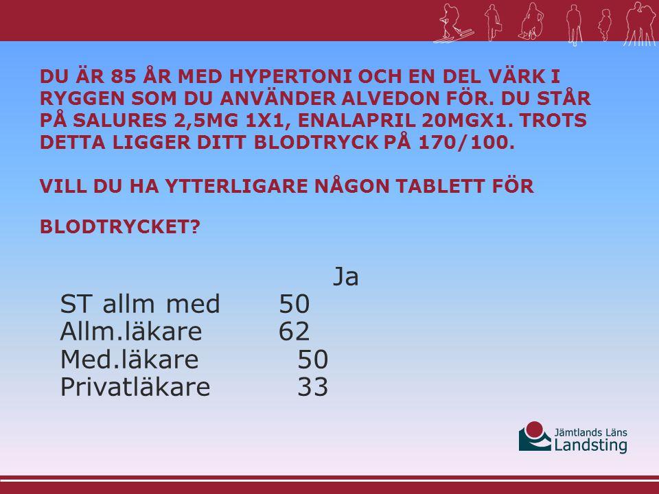 Ja ST allm med50 Allm.läkare62 Med.läkare50 Privatläkare33
