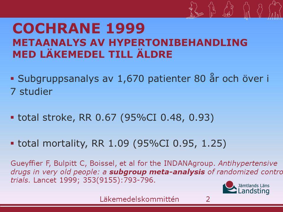 COCHRANE 1999 METAANALYS AV HYPERTONIBEHANDLING MED LÄKEMEDEL TILL ÄLDRE  Subgruppsanalys av 1,670 patienter 80 år och över i 7 studier  total stroke, RR 0.67 (95%CI 0.48, 0.93)  total mortality, RR 1.09 (95%CI 0.95, 1.25) Gueyffier F, Bulpitt C, Boissel, et al for the INDANAgroup.