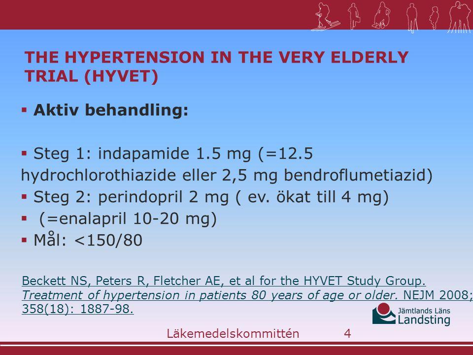 THE HYPERTENSION IN THE VERY ELDERLY TRIAL (HYVET)  Aktiv behandling:  Steg 1: indapamide 1.5 mg (=12.5 hydrochlorothiazide eller 2,5 mg bendroflumetiazid)  Steg 2: perindopril 2 mg ( ev.