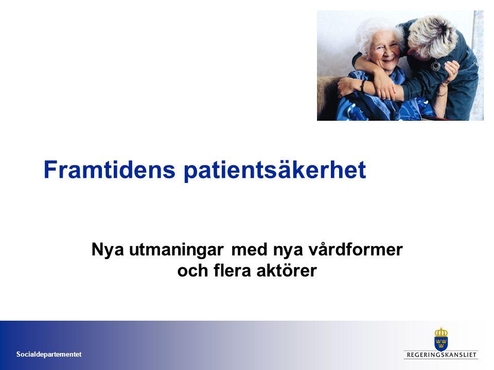 Socialdepartementet Fokus i äldresatsningen •God palliativ vård i livets slutskede •Preventivt arbetssätt •God vård vid demenssjukdom •God läkemedelsbehandling för äldre •Sammanhållen vård och omsorg