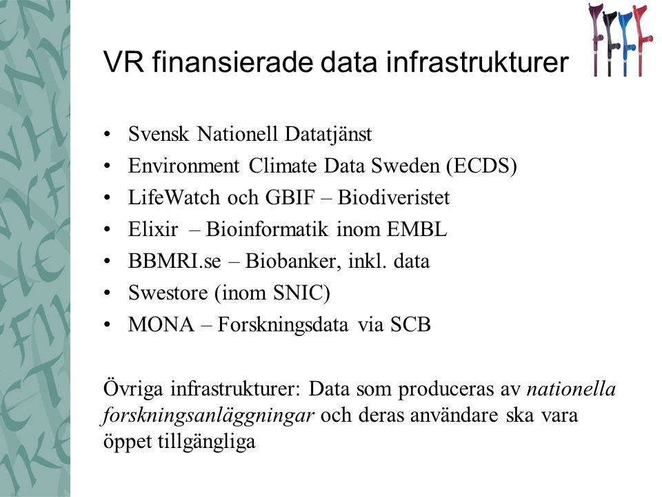 VR finansierade data infrastrukturer •Svensk Nationell Datatjänst •Environment Climate Data Sweden (ECDS) •LifeWatch och GBIF – Biodiveristet •Elixir – Bioinformatik inom EMBL •BBMRI.se – Biobanker, inkl.