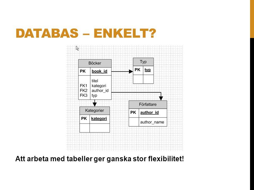DATABAS – ENKELT? Att arbeta med tabeller ger ganska stor flexibilitet!