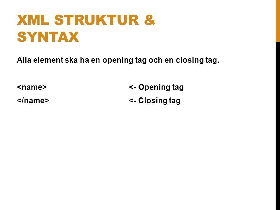 Alla element ska ha en opening tag och en closing tag. <- Opening tag <- Closing tag