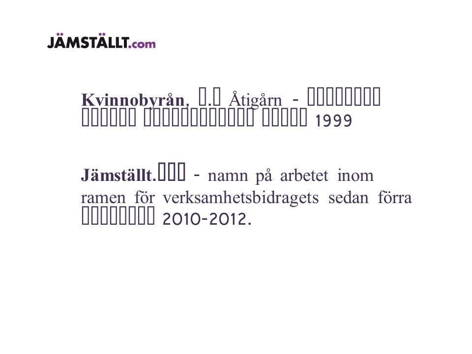 Kvinnobyrån, f. d Åtigårn - juridisk person resurscentra sedan 1999 Jämställt.