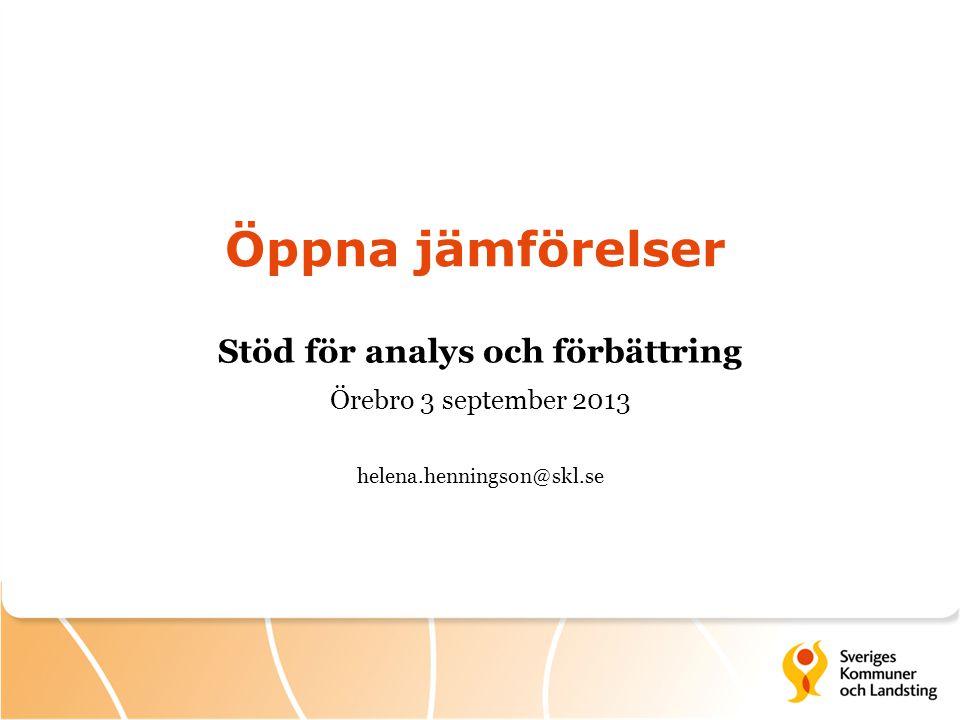 Öppna jämförelser Stöd för analys och förbättring Örebro 3 september 2013 helena.henningson@skl.se